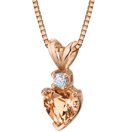 0.75 ct Heart Cut Morganite and Diamond Pendant Necklace in 14K Rose Gold, 18