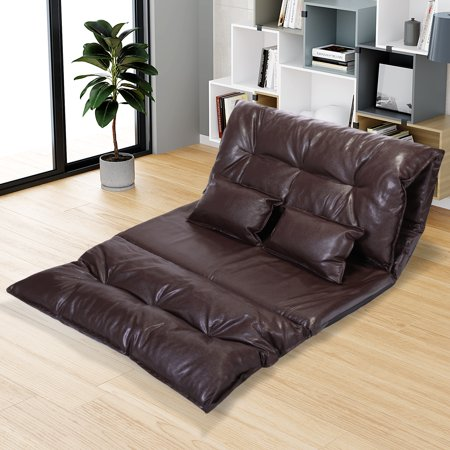 Jaxpety Floor Sofa Adjustable Leisure Lazy Lounge Video Gaming Sofa Bed with 2 Pillow,Brown