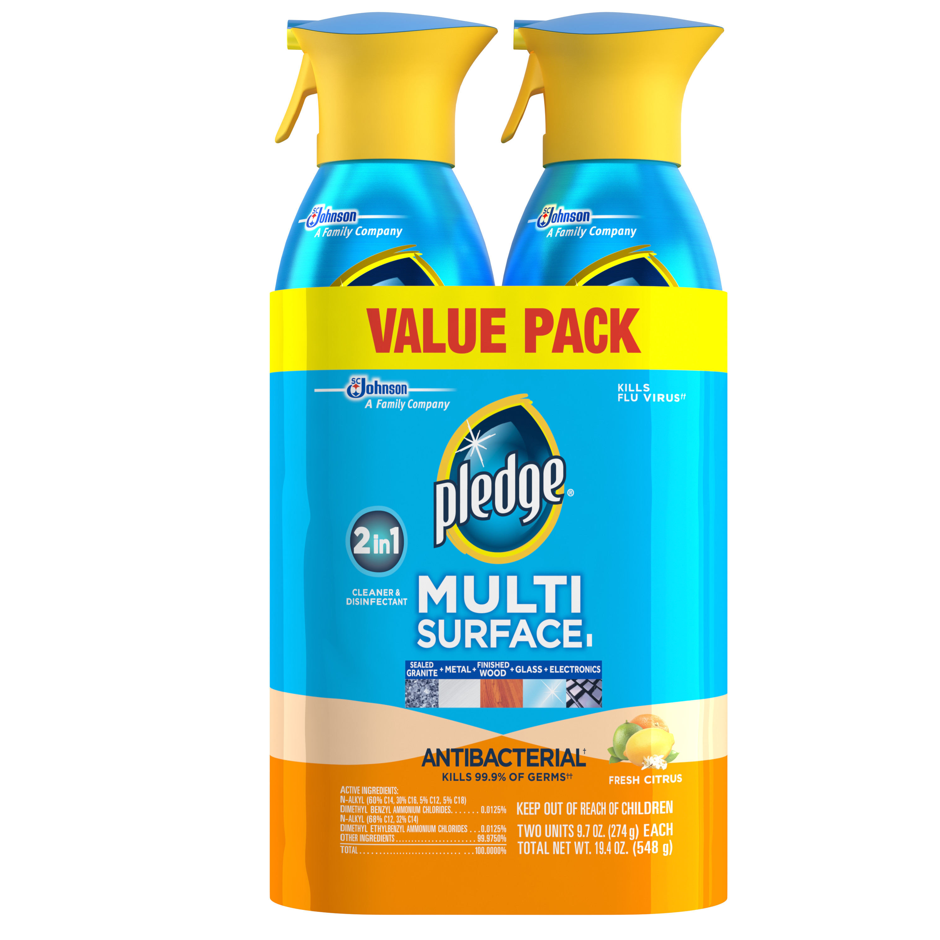 Pledge Multi Surface Antibacterial Everyday Cleaner 9.7 Ounces 2pk