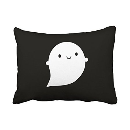 WinHome Cartoon Vintage Happy Halloween Ghost Black And White Simple Pattern Polyester 20 x 30 Inch Rectangle Throw Pillow Covers With Hidden Zipper Home Sofa Cushion Decorative Pillowcases