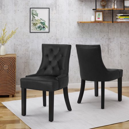 Noble House Traditional Microfiber Dining Chairs , Black These dining chairs are a great addition to any home. Use them either as dining chairs or as accent chairs. The versatility of the chair is only one of the many features, including diamond tufted backrests that contour the body for added comfort. You will love these dining chairs for years to come.