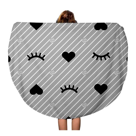 Silver Patterned Round Dial - SIDONKU 60 inch Round Beach Towel Blanket Pattern from Eyelash and Heart Silver Dot on Grey Travel Circle Circular Towels Mat Tapestry Beach Throw