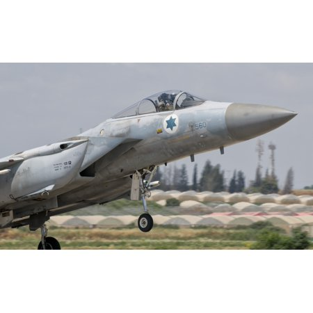 An F-15C Eagle Baz aircraft of the Israeli Air Force taking off Canvas Art - Giovanni CollaStocktrek Images (36 x