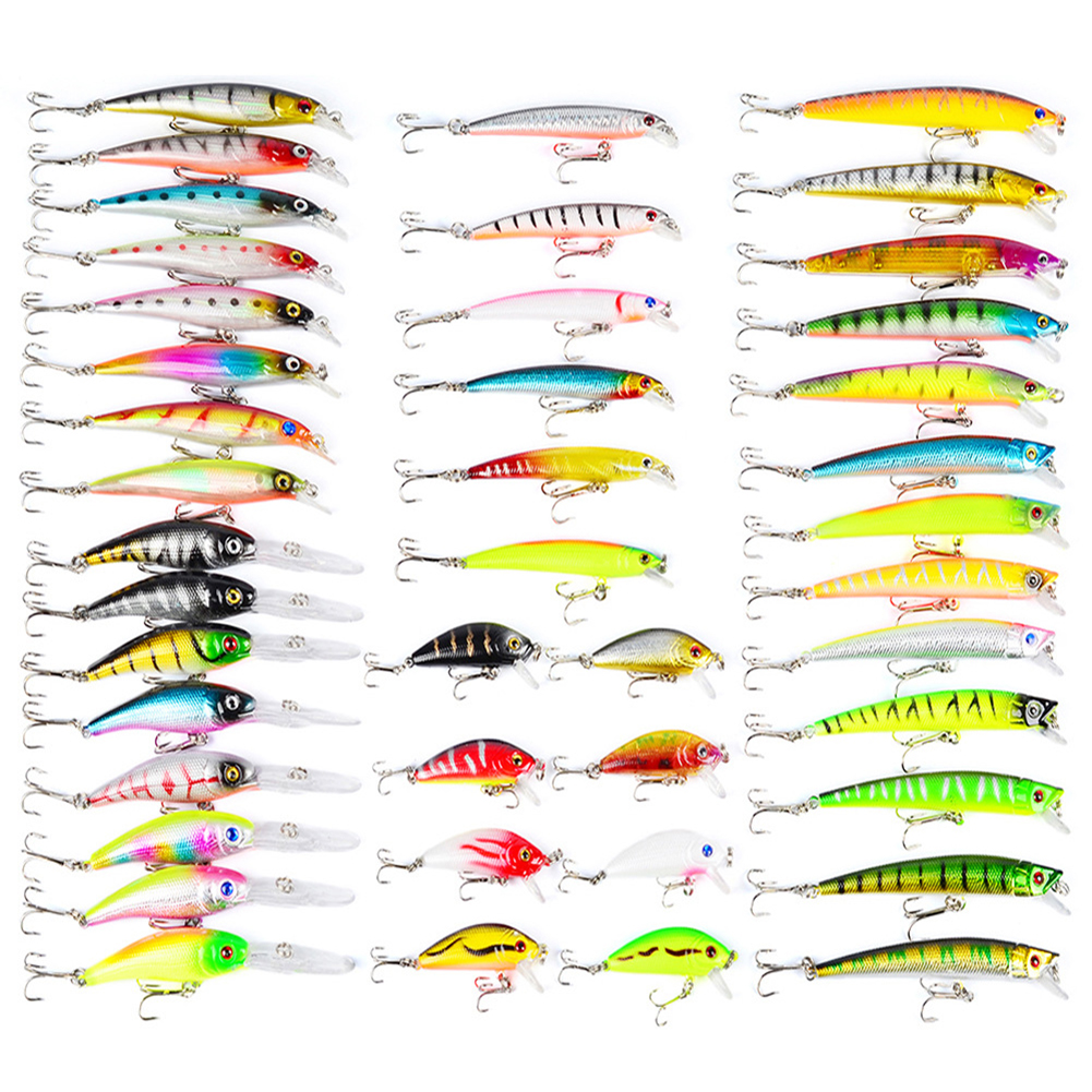 43 Pcs Colorful Fishing Lure Tackle Artificial Minnow Crank Baits Imitation Fish Shape Lure with Fishhook by
