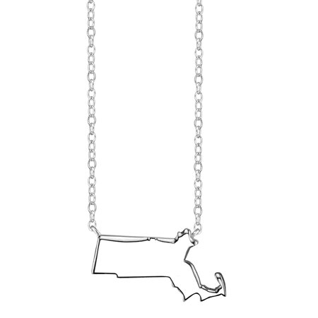 Sterling Silver Stationed Mini State Massachusetts Pendant Necklace, 16