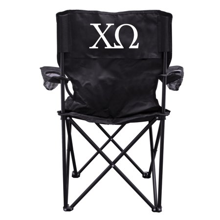 Chi Omega Block - Chi Omega Black Folding Camping Chair with Carry Bag