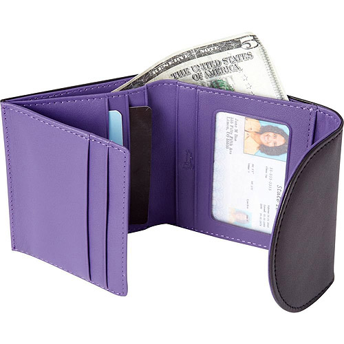 Royce Leather RFID Blocking  Women's Slim Wallet in Genuine Leather Contrast Colors