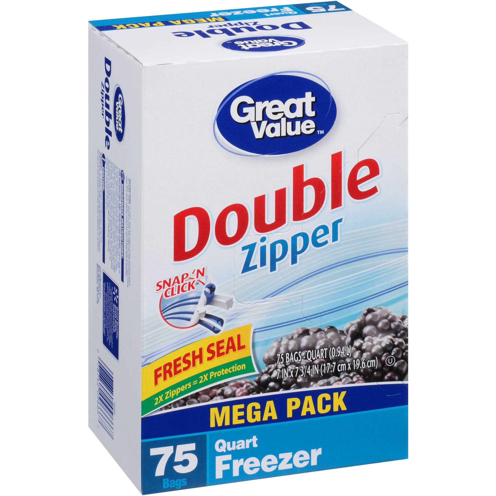 Great Value Double Zipper Quart Size Freezer Storage Bags, 75 count