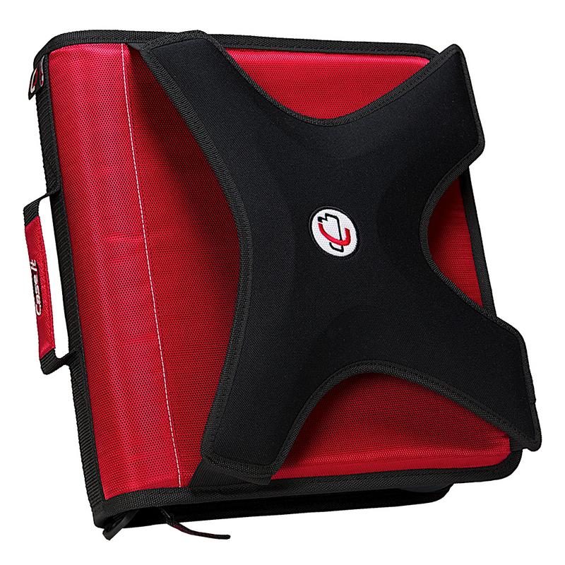 Case it the x-hugger, 2 inch o-ring zipper binder w/tab file, red