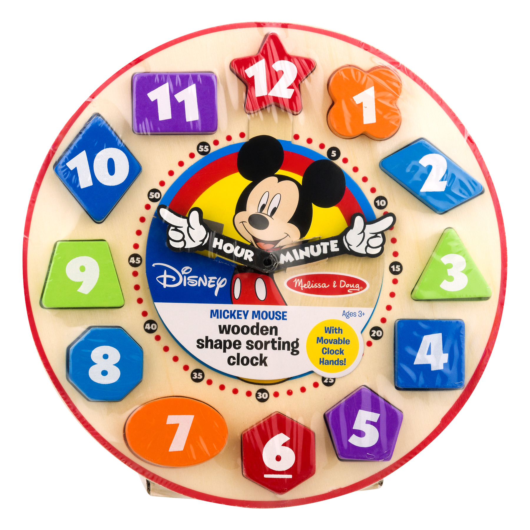 Disney Mickey Mouse Wooden Shape Sorting Clock, 1.0 CT by Melissa %26 Doug