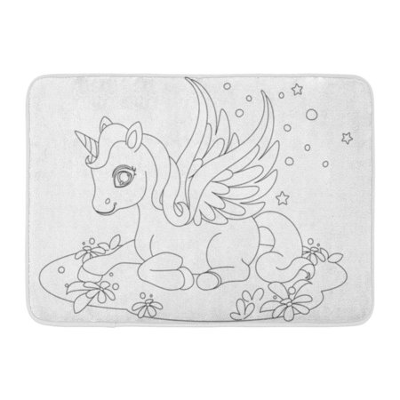 GODPOK Doodle White Pony Cute Baby Unicorn Fantasy Drawing to Color Cartoon Adorable Rug Doormat Bath Mat 23.6x15.7 inch