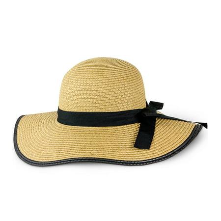 MAGID WOMEN'S SOLID STRAW FLOPPY SUN HAT