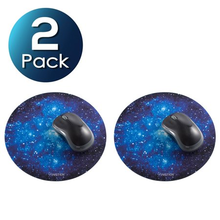 Insten 2-pack Galaxy Mouse Mat Pad For Laptop Gaming Home Office Computer Galactic Space Design Round Anti-Slip Backing Silky Smooth Surface 2mm Ultra Thick Diameter: 8.46