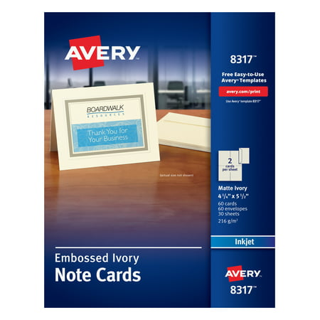 Avery 8317 Embossed Note Cards, Inkjet, 4 1/4 x 5 1/2, Matte Ivory (Pack of 60, with (Embossed Flat Card)
