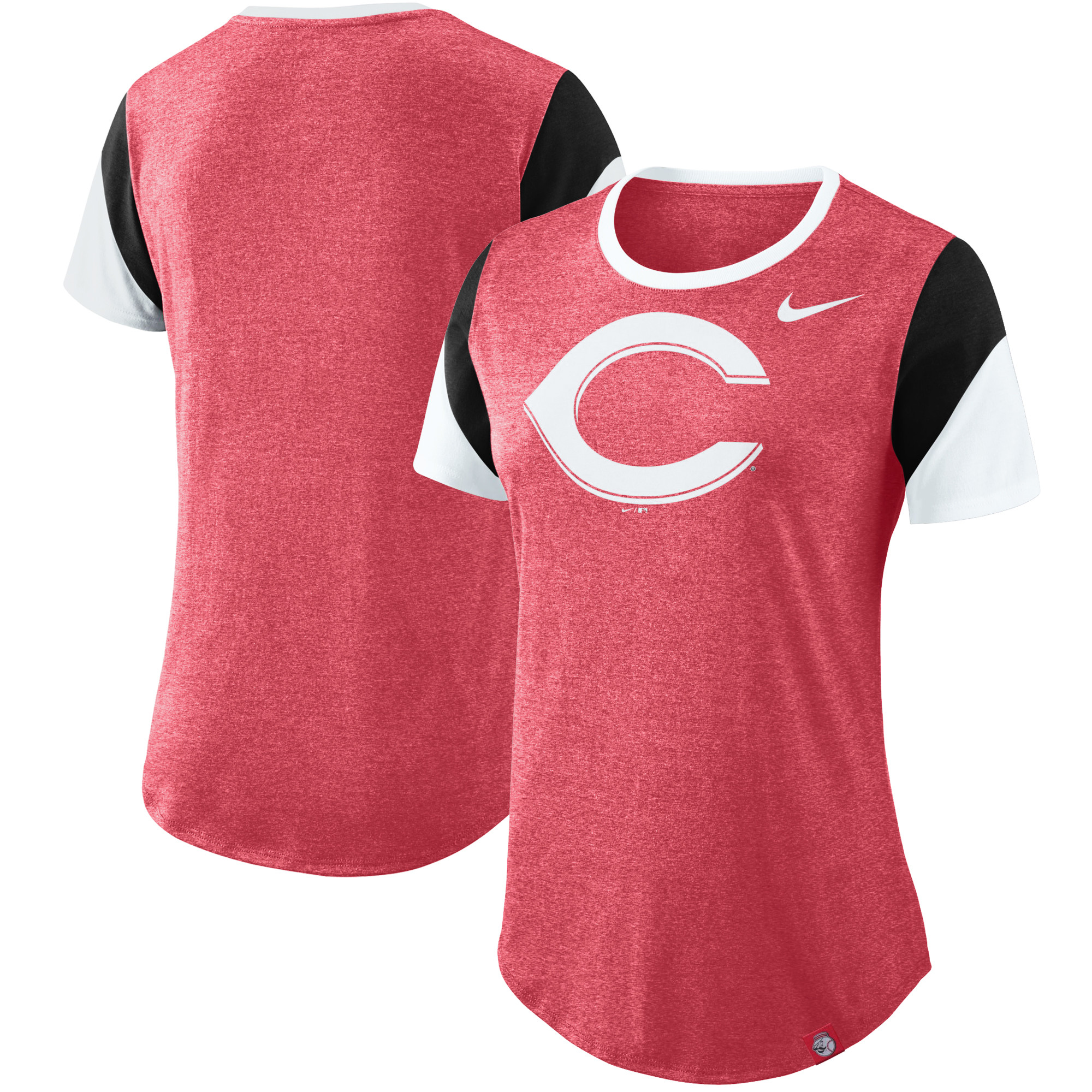 Cincinnati Reds Nike Women's Sleeve Stripes Tri-Blend T-Shirt - Red