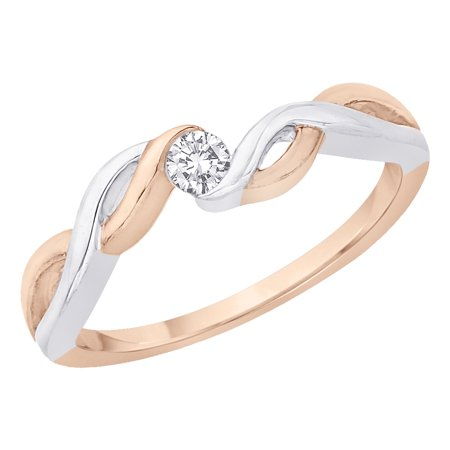 Diamond Promise Ring in 10K Two Tone Gold (1/10 cttw) 2 Tone Gold Diamond Ring