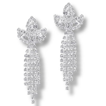 Glamour Dess Jewelry Er083cs Clip On Dangle Pageant Earrings Rhinestone Crystal Crown