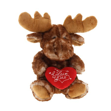 Super Soft Plush Dollibu Brown Sitting Moose Red I Love You Valentines