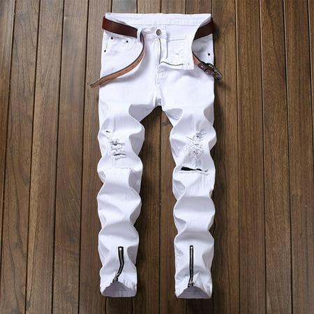 White Mens Jeans (Men\'s Street Fashion Hiphops Knee Hole Stretch Denim pants Ripped Skinny Bottom zipper biker)