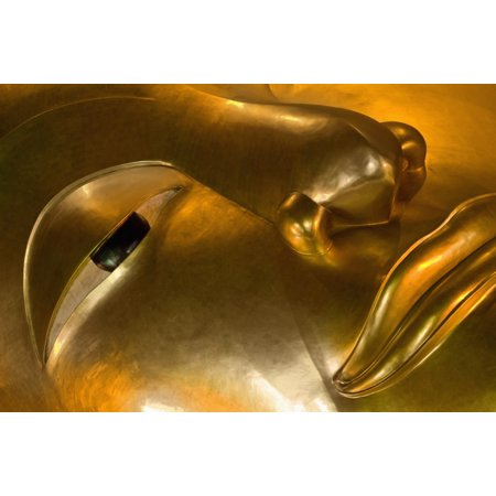 Detail Of Reclining Buddha Statue Canvas Art - Ian Cumming  Design Pics (38 x