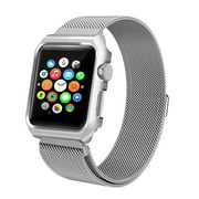 Coverlab Apple Watch Band with Case 38mm, Stainless Steel Mesh Milanese Loop with Adjustable Magnetic Closure for Apple Watch Series 3 2 1, Silver