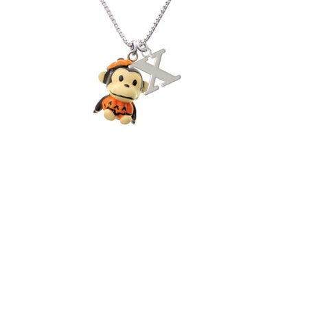 Resin Monkey in Pumpkin Costume Capital Initial X Necklace - Capitol Costume