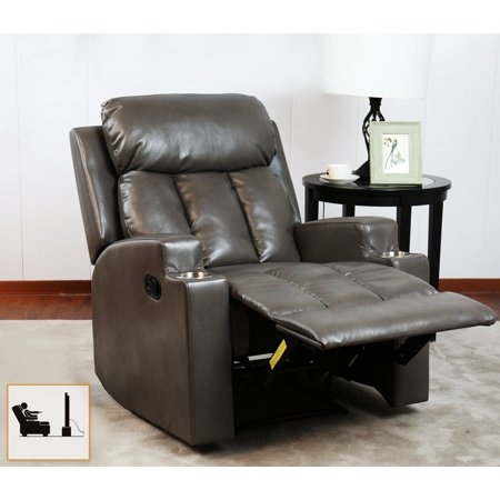 BONZY Recliner Chair Contemporary Theater Seating 2 Cup Holder Grey Leather Chair for Modern Living room Durable (Motion Home Theater Seating)