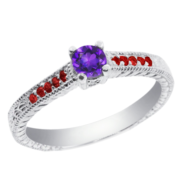 0.33 Ct Round Purple Amethyst Red Garnet 925 Sterling Silver Engagement Ring