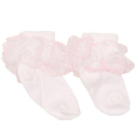 Infant Ruffle Socks - Piccolo Baby Girls White Pink Cute Mesh Ruffle Trimmed Soft Socks