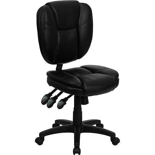 Leather Multi-Function Task Chair, Black