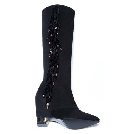 c96887662f5 Ann Creek - Ann Creek Women s  Jules  Fringe and Plated Heel Boots - Walmart .com