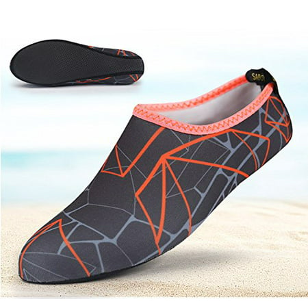 Barefoot Water Skin Shoes  Epicgadget Tm  Quick Dry Flexible Water Skin Shoes Aqua Socks For Beach  Swim  Diving  Snorkeling  Running  Surfing And Yoga Exercise  Gray Orange  L  Us 7 8 Eur 38 39