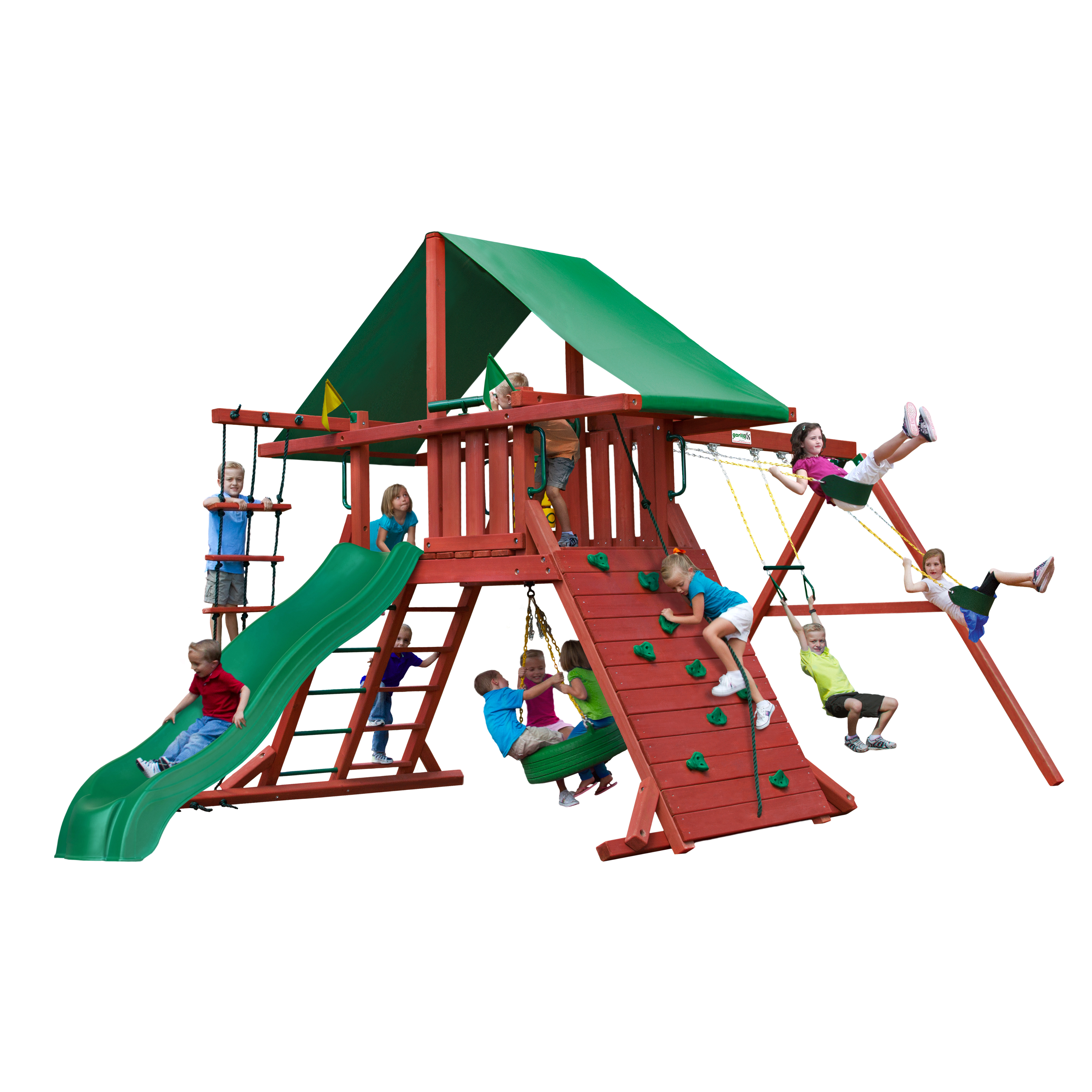 Gorilla Playsets Sun Valley I Wooden Swing Set with Extra Large Rock Climbing Wall and Tire Swing