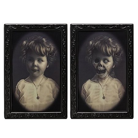 Haunted Halloween Portraits (Halloween Lenticular 3D Changing Face Horror Portrait Haunted Spooky Halloween Decorative Painting Frame)