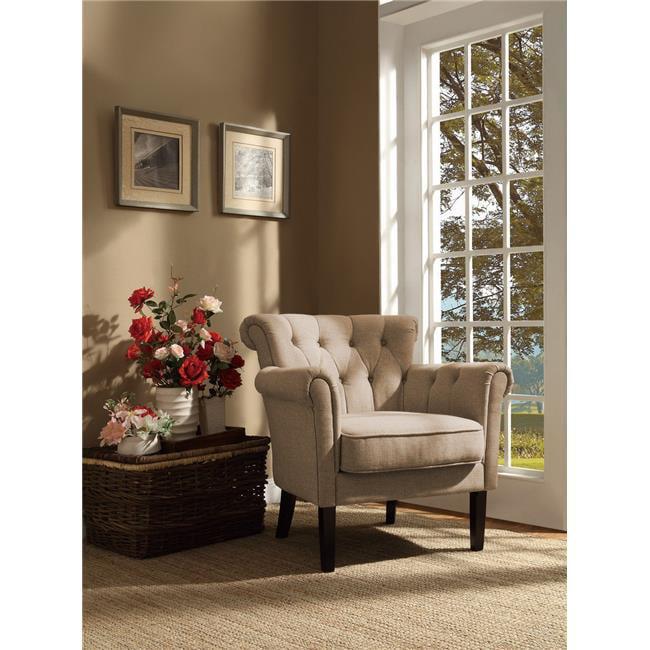 Surprising Homelegance Barlowe Fabric Flared Accent Chair Khaki Brown Walmart Com Theyellowbook Wood Chair Design Ideas Theyellowbookinfo
