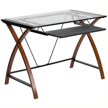 Scranton & Co Glass Top Computer Desk in Black and (Scranton Glass)