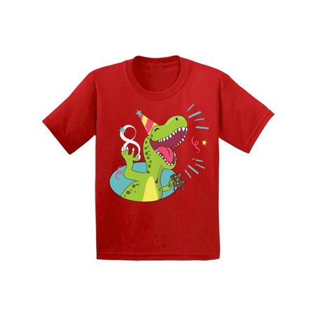 Awkward Styles 8th Birthday Youth Shirt Kids Party Dinosaur Shirts For Boys Girls Cute Gifts Funny