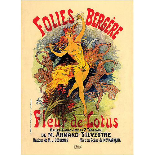 "Trademark Fine Art ""Folies Bergere Fleur de Lotus"" Canvas Art by Jules Cheret, 24x32"