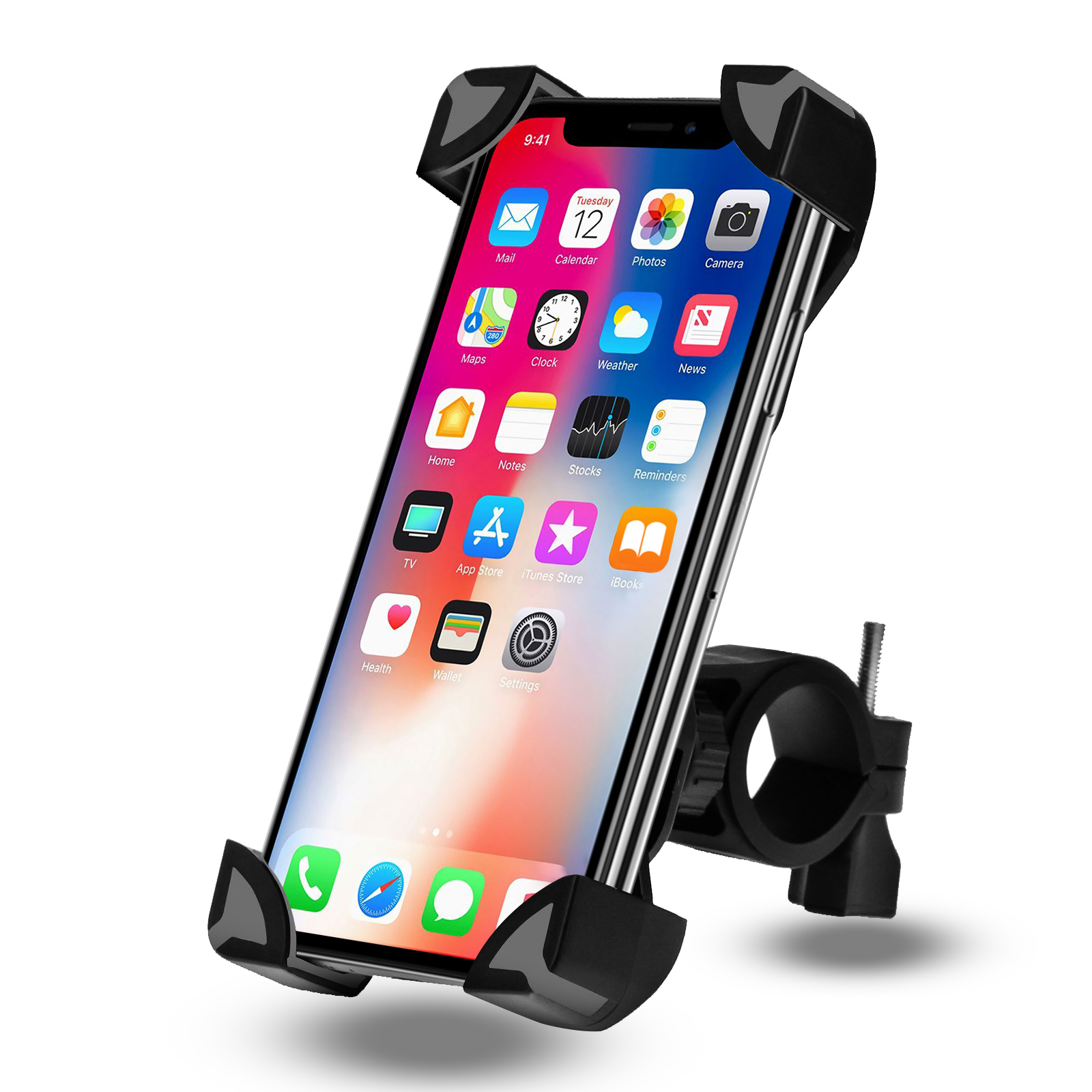 360/°Rotation Adjustable Bicycle Handlebar Rack Cellphone Holder Compatible iPhone 11 Pro Max SE X Xs Xr 8 7 6 Plus Samsung Galaxy S20 S10 S9 S8 S7 S6 S5 Edge Nexus Bike Motorcycle Phone Mount