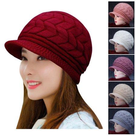 21b553c8 EFINNY Fashion Warm Winter Women Beret Braided Baggy Knit Crochet Hat Sexy Ski  Cap Ear Protection - Walmart.com