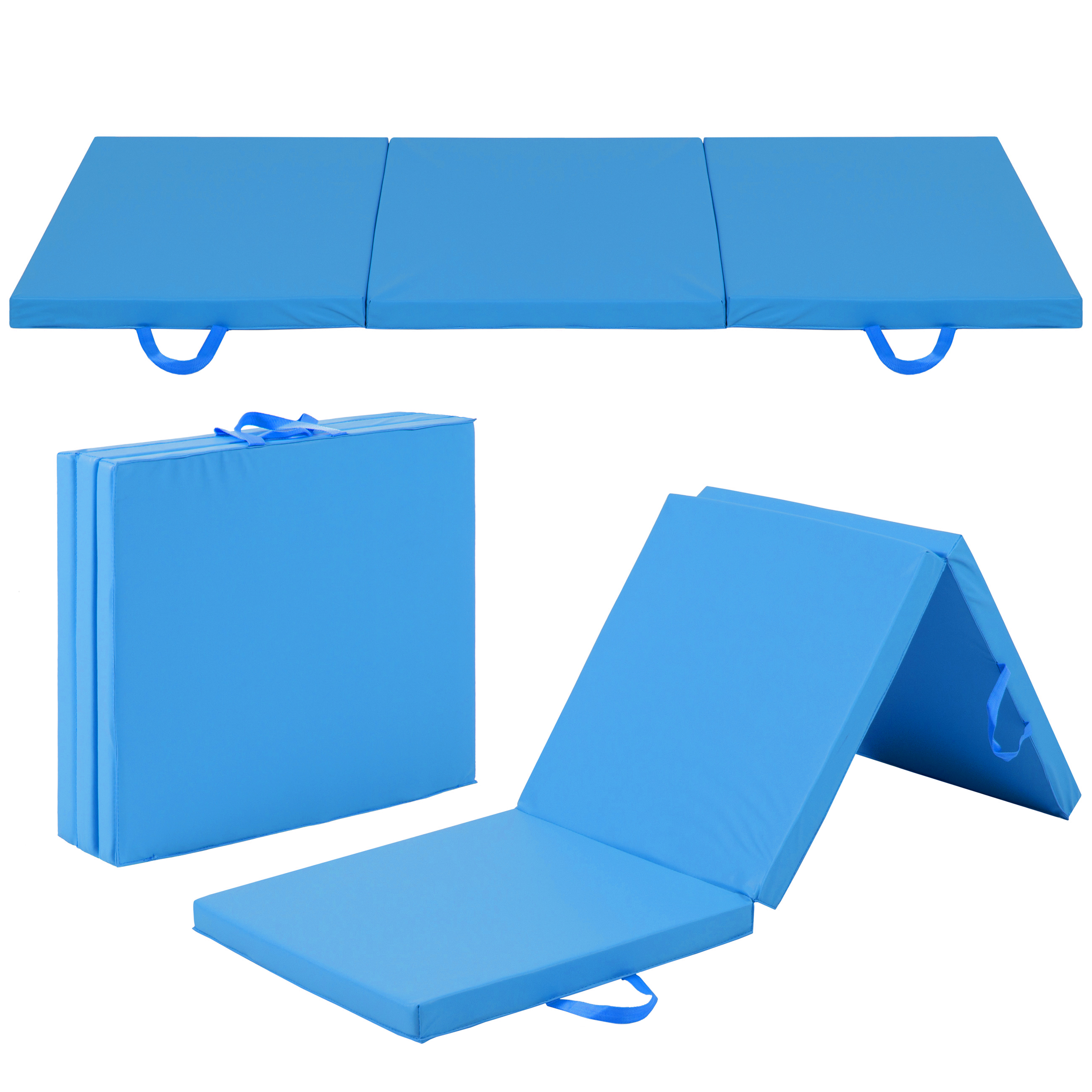 Best Choice Products 6x2ft Exercise Tri-Fold Gym Mat For Gymnastics, Aerobics, Yoga, Martial Arts - Blue