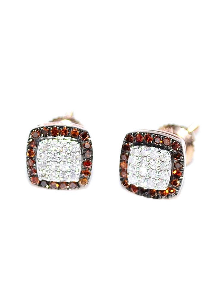 Diamond Earrings Rose Gold Cognac And White Diamonds 1/5cttw 10K Screw Back 6.5mm