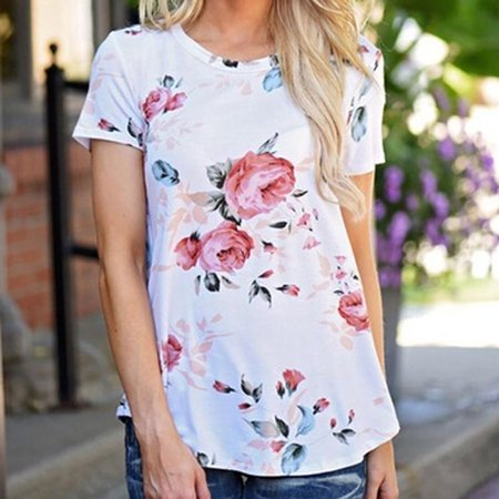KABOER Women Crew Neck Floral Printed Short Sleeve Blouse Casual T-Shirt Tops