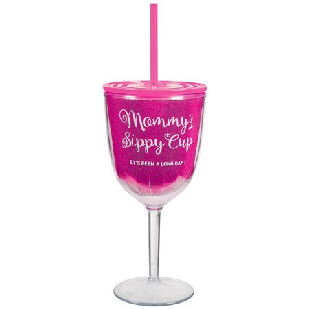 Mommy's Wine Glass Adult Plastic 12 Ounce Party Cup With Straw & Lid](Plastic Wine Glasses With Lids)