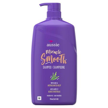 Aussie Miracle Smooth with Aloe & Sea Kelp, Paraben Free Shampoo 26.2 fl oz