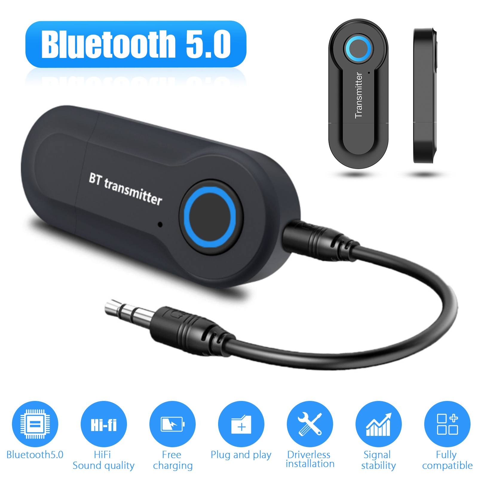 2in 1 Wireless Bluetooth Transmitter /& Receiver A2DP for TV Stereo Audio Adapter