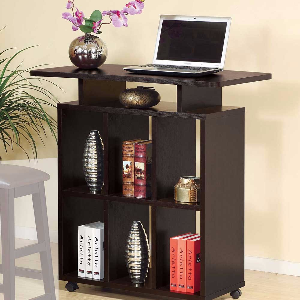 Elegant Standing Desk With 7 Open Shelves.
