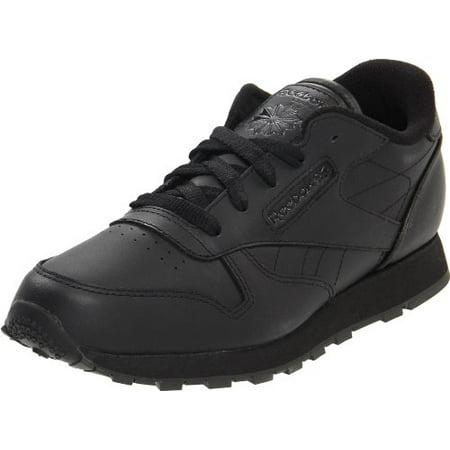 Reebok Classic Leather Shoe,BlackBlackBlack,5 M US Big Kid