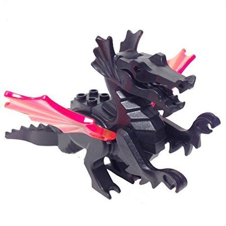 Minifigurepacks  Lego Castle   Fright Knights Classic Black Dragon   Draco W Trans Neon Orange Wings