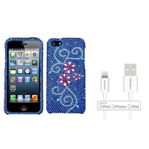 Insten Juicy Flower Diamante Case For iPhone 5 5S (+ Apple Certified Lightning Cable)